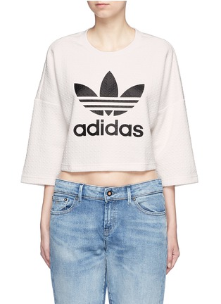 Main View - Click To Enlarge - Adidas - Trefoil logo print quilted knit cropped T-shirt