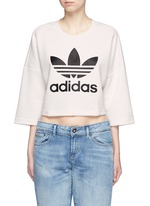 Trefoil logo print quilted knit cropped T-shirt
