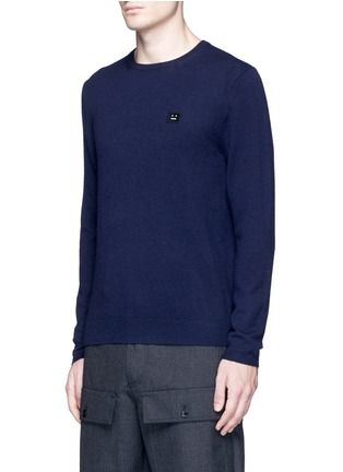 Front View - Click To Enlarge - Acne Studios - Dasher O Face' appliqué wool sweater