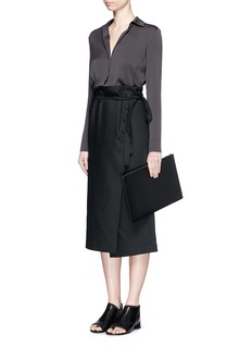 HELMUT LANGWrap front cotton-linen belted skirt