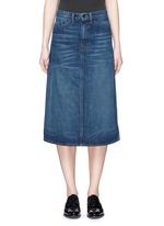 Dark worn denim skirt