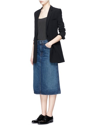 Figure View - Click To Enlarge - Helmut Lang - Dark worn denim skirt