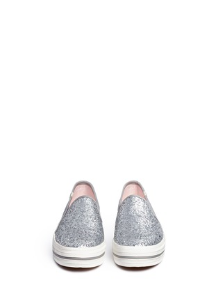 Front View - Click To Enlarge - Keds - x Kate Spade 'Triple Decker Glitter' flatform slip-ons