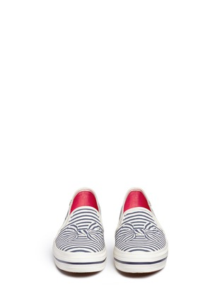 Front View - Click To Enlarge - Keds - x Kate Spade 'Triple Decker Bow' canvas flatform slip-ons