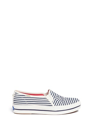 Main View - Click To Enlarge - Keds - x Kate Spade 'Triple Decker Bow' canvas flatform slip-ons