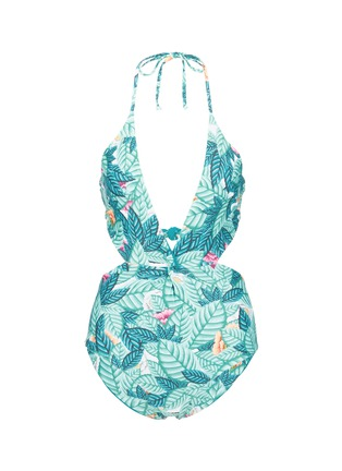 Main View - Click To Enlarge - Mara Hoffman - Twist front cutout leaf print swimsuit