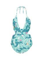 Twist front cutout leaf print swimsuit