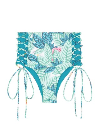 Main View - Click To Enlarge - Mara Hoffman - Lace-up leaf print high waist bikini bottoms