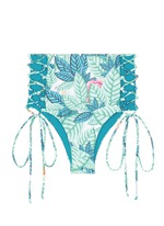 Lace-up leaf print high waist bikini bottoms