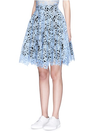 Front View - Click To Enlarge - HELEN LEE - Floral guipure lace flare skirt