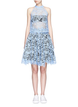 Figure View - Click To Enlarge - HELEN LEE - Floral guipure lace flare skirt