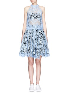 HELEN LEE Floral guipure lace flare skirt