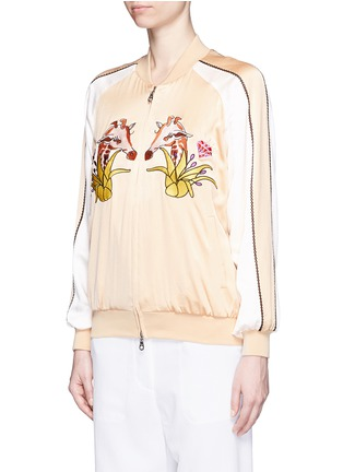 Front View - Click To Enlarge - HELEN LEE - Giraffe embroidery appliqué silk bomber jacket
