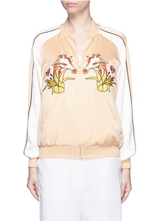 Main View - Click To Enlarge - HELEN LEE - Giraffe embroidery appliqué silk bomber jacket