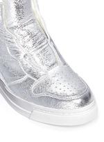 'Clone' metallic leather wedge sneakers