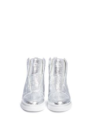 正面 -点击放大 - ASH - 'Clone' metallic leather wedge sneakers