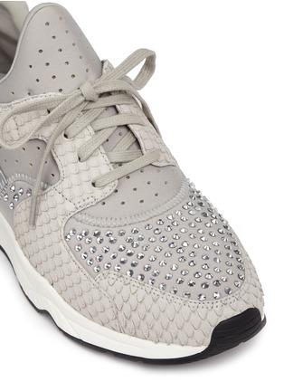 Detail View - Click To Enlarge - Ash - 'Mood' crystal snakeskin effect neoprene sneakers
