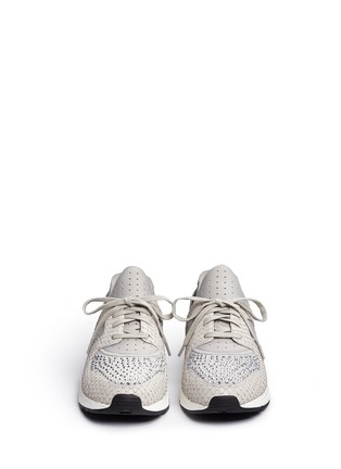 Front View - Click To Enlarge - Ash - 'Mood' crystal snakeskin effect neoprene sneakers
