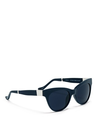 Figure View - Click To Enlarge - The Row - x Linda Farrow leather temple acetate sunglasses