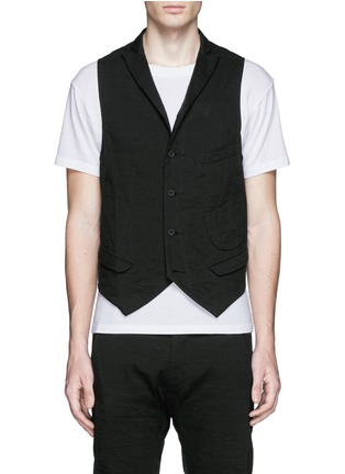 Ziggy Chen - Collarless linen-cotton vest