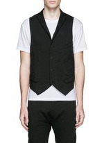 Collarless linen-cotton vest