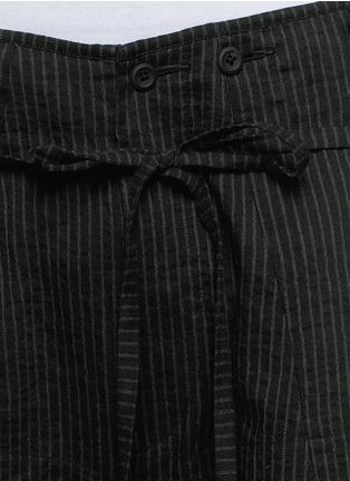 Detail View - Click To Enlarge - Ziggy Chen - Pinstripe cotton-linen wide leg pants