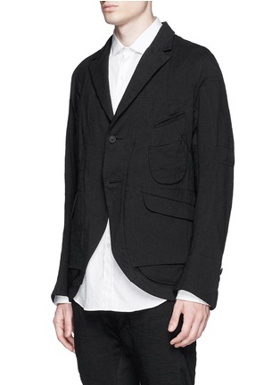 Front View - Click To Enlarge - Ziggy Chen - Duo-layer back vent cotton-linen blazer