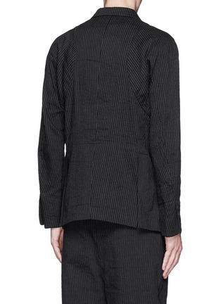 Back View - Click To Enlarge - Ziggy Chen - Pinstripe cotton-linen blazer