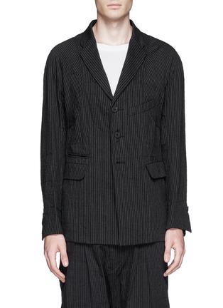 Main View - Click To Enlarge - Ziggy Chen - Pinstripe cotton-linen blazer