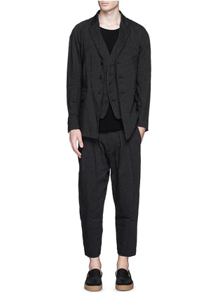 Figure View - Click To Enlarge - Ziggy Chen - Pinstripe cotton-linen blazer