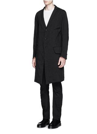 Front View - Click To Enlarge - Ziggy Chen - Peak lapel cotton voile coat