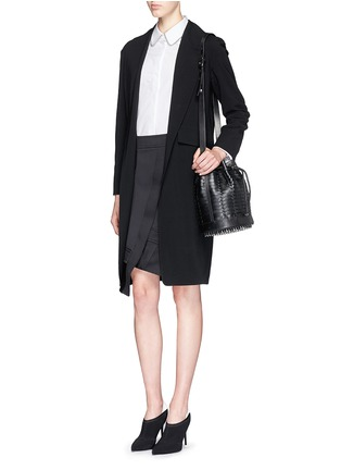 Figure View - Click To Enlarge - Alexander Wang  - Shawl lapel long wool knit blazer