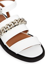 Curb chain leather flatform sandals