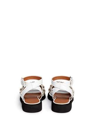 Back View - Click To Enlarge - Givenchy - Curb chain leather flatform sandals