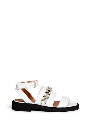 Main View - Click To Enlarge - Givenchy - Curb chain leather flatform sandals
