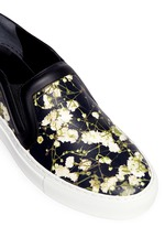 Baby's breath floral print leather skate slip-ons