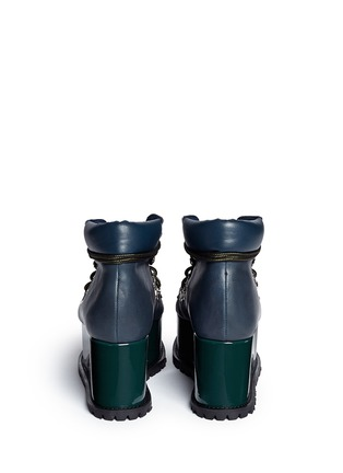 Back View - Click To Enlarge - Sacai - Open vamp patent leather platform mountain boots