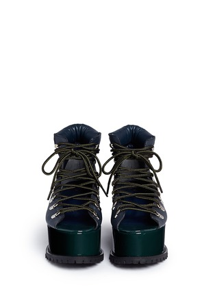 Figure View - Click To Enlarge - Sacai - Open vamp patent leather platform mountain boots
