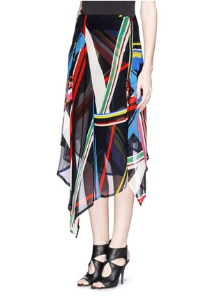 Front View - Click To Enlarge - PREEN BY THORNTON BREGAZZI - 'Simi' multi stripe print irregular hem skirt