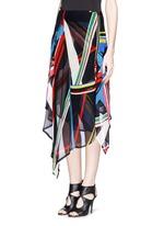 'Simi' multi stripe print irregular hem skirt