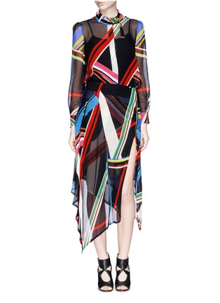 Figure View - Click To Enlarge - PREEN BY THORNTON BREGAZZI - 'Simi' multi stripe print irregular hem skirt
