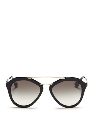 Main View - Click To Enlarge - Prada - Wire double bridge acetate sunglasses