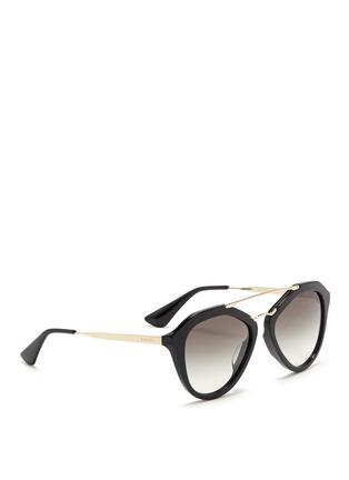 Figure View - Click To Enlarge - Prada - Wire double bridge acetate sunglasses