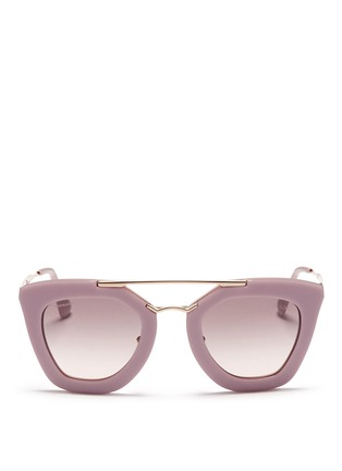 Main View - Click To Enlarge - Prada - Metal bridge colourblock acetate sunglasses