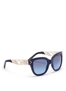 TORY BURCH'Chevron' cutout fretwork temple acetate sunglasses