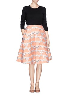 CHICTOPIA Sheep jacquard wool blend pleat flare skirt