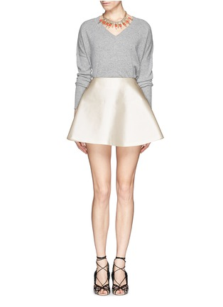 Figure View - Click To Enlarge - Chictopia - Silk-cotton flare skirt