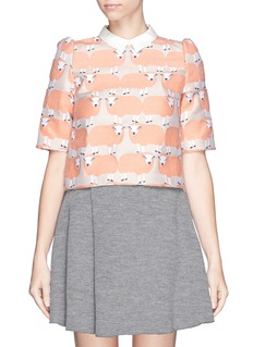 CHICTOPIA Sheep jacquard wool blend boxy top
