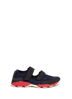Marni Suede and nylon colourblock strappy sneakers