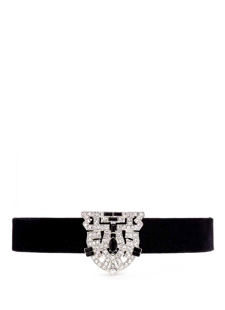 Pavé Art Deco cutwork velvet choker by Kenneth Jay Lane
